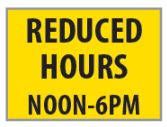 Reduced hours noon-6pm