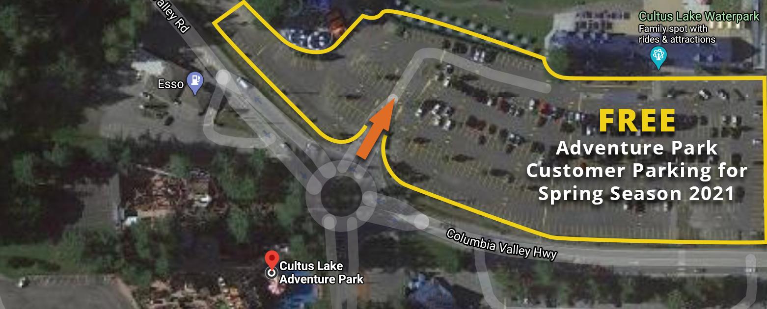 parking at cultus lake Adventure park Spring 2021